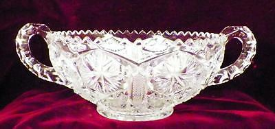 Antique Star & File Bowl Early American Pressed Glass Imperial 612 Handles Clear