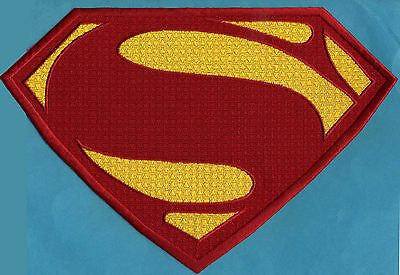 "7"" x 10.5""  Large Embroidered Superman Man of Steel Red & Yellow Chest Patch"