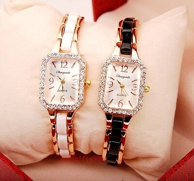 New 10pcs Fashion Square Crystal girls ladies Rose gold Wrist watches gifts SW3