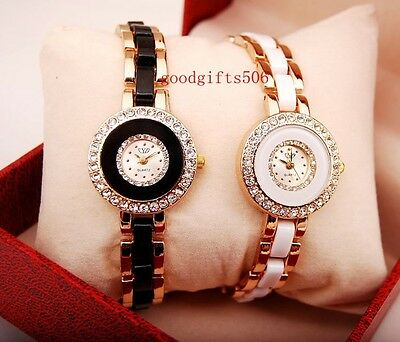New 10pcs Fashion Crystal Round girls ladies Rose gold Wrist watches gifts SW1