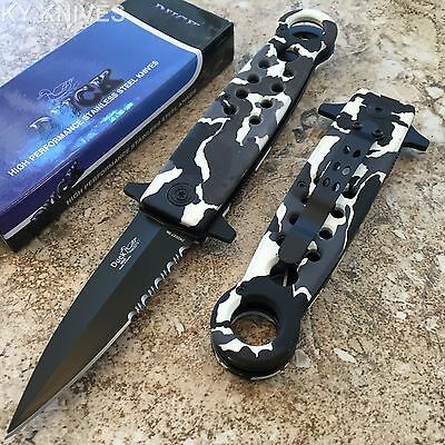 DUCK BRAND White Snow Camo Tactcial Assisted Open Pocket Knife 0027-SN zix