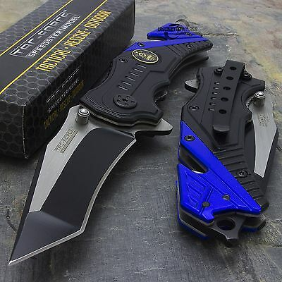 "7.5"" POLICE SPRING ASSISTED TACTICAL GLASS BREAKER FOLDING BLADE KNIFE Pocket"