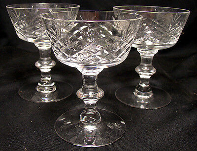 "Set of 3 Tiffin CANTERBURY 4 3/8"" Champagne Glass -- Stem #17395"