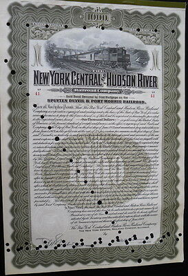 Ny Central& Hudson River Railroad Co $1,000 Vertical Format 1909 Gold Bond!