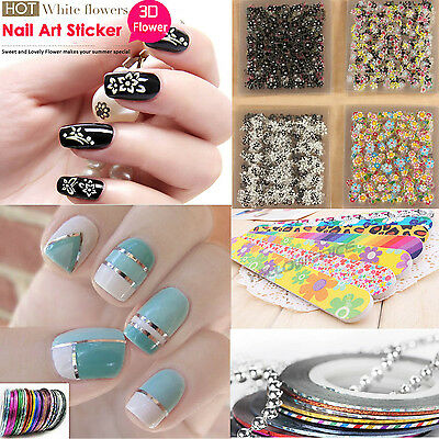 3 in 1 3D Colorful Nail Art Tips Stickers Decal Wraps Acrylic Manicure Decoratio