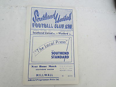 1954-55 FOOTBALL COMBINATION RESERVES SOUTHEND UNITED v WATFORD