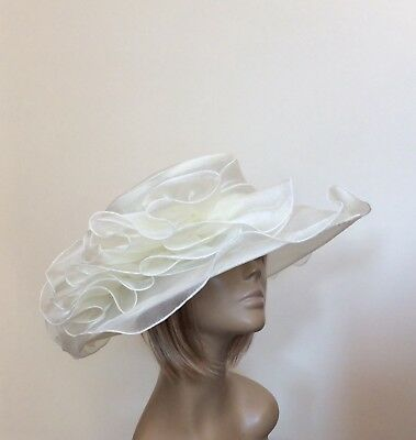 New Large Ivory Cream Organza Brides Wedding Hat Mother Of The Bride/Groom Races
