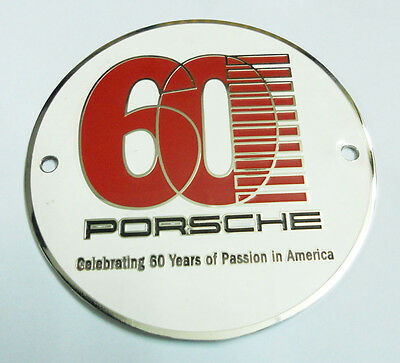PORSCHE CELEBRATING 60 YEARS OF PASSION IN AMERICA GRILL BADGE EMBLEM LOGOS META