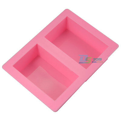 2 Cavities Rectangle Silicone Mold Soap Jello Ice Cube Tray Cake Bake Mould DIY