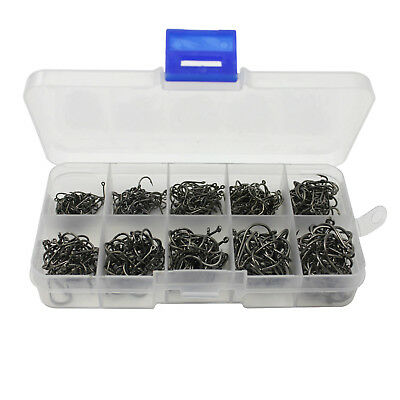 500pcs New Carbon Steel Fishing Lure Hook Jig Sharpened Fish Fishhook Tackle Box