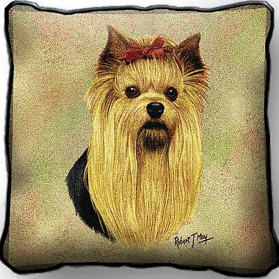 """17"""" x 17"""" Pillow - Yorkshire Terrier Yorkie by Robert May 1936"""