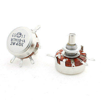 2 Pcs Carbon Composition Rotary Taper Potentiometer 4Pin WTH118 470Kohm 2W