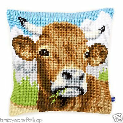 Cow Chunky Cross Stitch Cushion Front kit 40x40cm By Vervaco