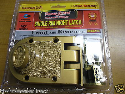 Solid Brass Heavy Duty Lockset Front & Rear Door Single Rim Night Latch Pad Lock