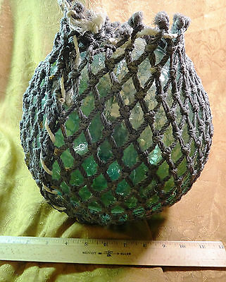 "32"" Antique Aqua Blue Green Glass Fishing Buoy w/ Brown Rope *Free S&H USA*"
