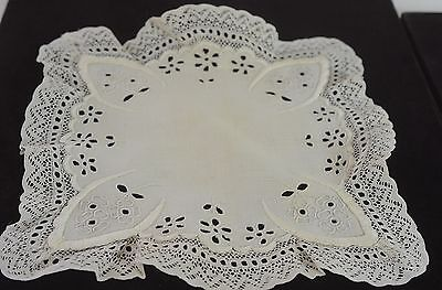 Gorgeous Antique Handmade Eyelet Lace And Linen Hanky  Pp506