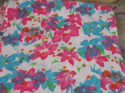 Pink and blue bright spring summer flowers 2 pieces knit fabric material sewing