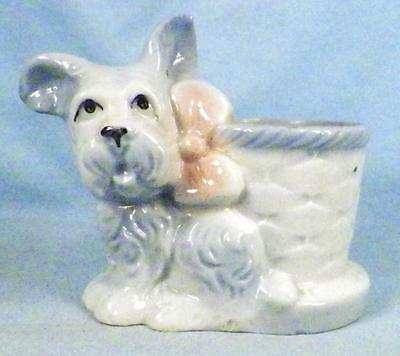 Vintage Scotty Dog Planter Vase Art Pottery Small Retro Adorable