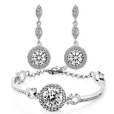 Silver and White Zircon Jewellery Set Drop Earrings & Bracelet for Wedding S763