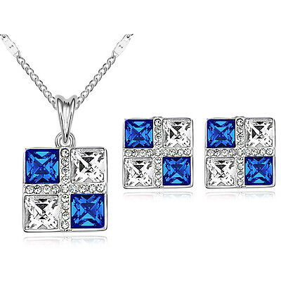 Amazing Dark Blue and White Square Jewellery Set Stud Earrings & Necklace S756