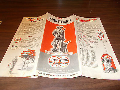 1942 Tydol/Veedol Pennsylvania Vintage Road Map