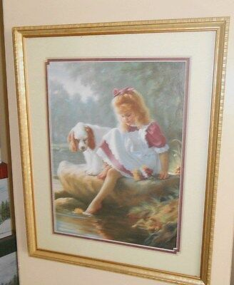 homco HOME INTERIORS  CHILD GIRL  PICTURE WITH spaniel dog