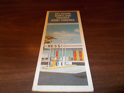 1974 Hess Delmarva Vintage Road Map /Nice Cover Graphics !!