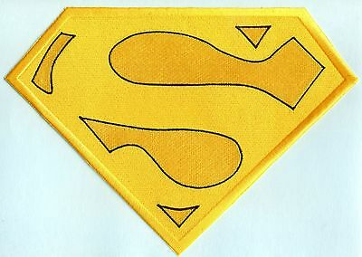 """7.8"""" x 11"""" Embroidered Christopher Reeve Yellow & Black Superman Cape Logo Patch"""
