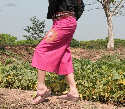 Cotton Pants 3/4 Leg Casual Quality Rose Pink - Embroidered Ying Yang sz M