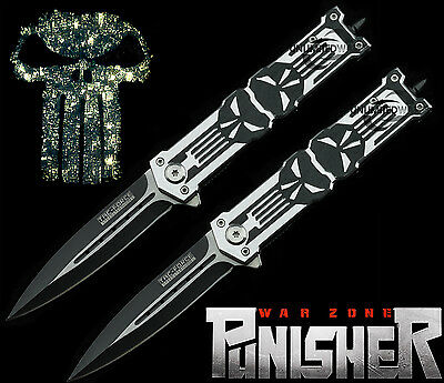 """TWO 8.25"""" PUNISHER STILETTO TACTICAL SPRING ASSISTED KNIFE Folding Blade Pocket"""