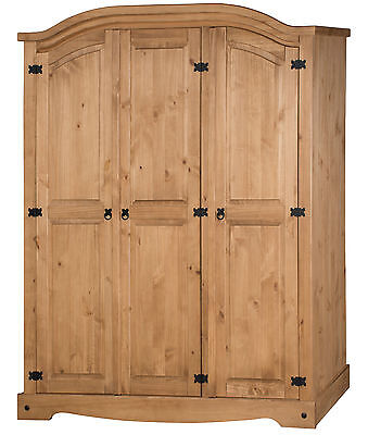 Corona 3 Door Arch Top Wardrobe Mexican Bedroom Solid Pine by Mercers Furniture