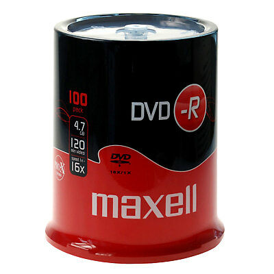 100 MAXELL DVD-R Rohlinge 16x Full Speed 4,7GB  in Spindel