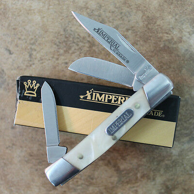 "Imperial Schrade Cracked Ice Pearl 2 5/8"" STOCKMAN Pocket Knife IMP14 zix"