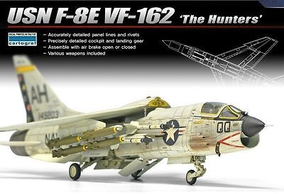 Academy-1/72 Plastic Model Kit USN F-8E VF-162 The Hunters NIB 12521