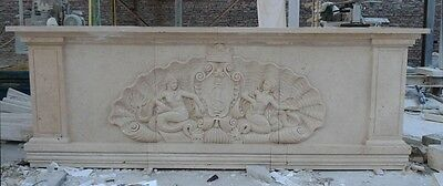 Large Hand Carved Estate Marble Custom Made Entertainment Bar #cmb1