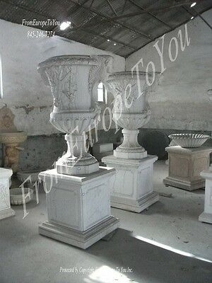 Monumental Hand Carved Marble Palace Urns - Urn4