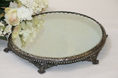 Antique Plateau Mirror Tray Round Footed Silverplate Trim Scroll Beaded Trim