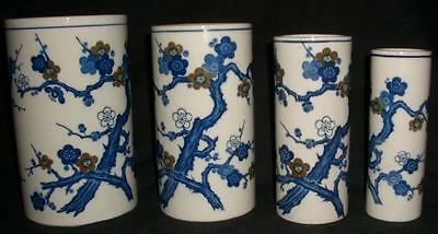 4 pc ~FLOW BLUE~CHINESE JAPANESE ASIAN SPOONER VASES