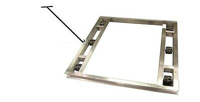 """Flat Aluminum Pallet Dollie 48""""x36"""" -- 8 Rollers 6,000# & Handle **FREE SHIPPING"""