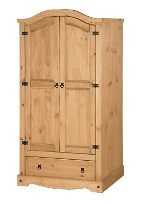 Corona 2 Door 1 Drawer Wardrobe Mexican Solid Pine by Mercers Furniture®