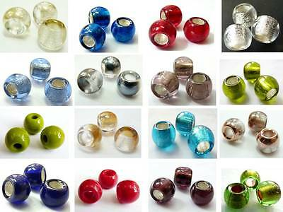 12(mm) LARGE HOLE EUROPEAN STYLE CZECH GLASS BEADS - GREAT FOR LEATHER - (10PCS)