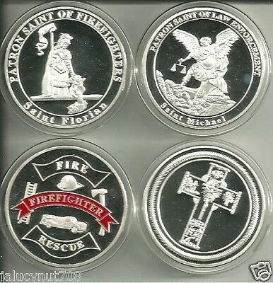 ST MICHAEL~POLICE & ST FLORIAN~FIREMAN SILVER COIN COMMEMORATIVE SET