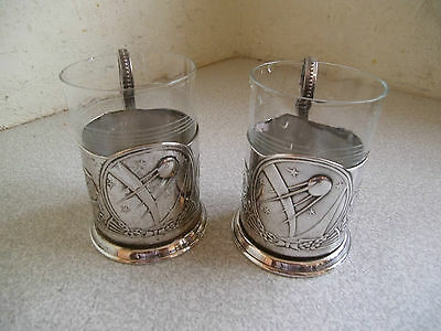 PAIR OF VINTAGE SILVER PLATED RUSSIAN - SPUTNIK- GLASS CUP  HOLDERS 1950S