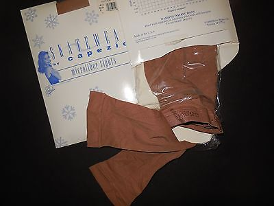 NEW CAPEZIO Microfiber Footless Skating Tights Suntan ch/Ladies NylonLycra #1813