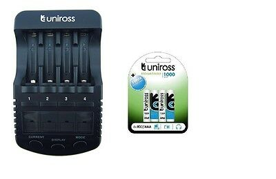 UNiROSS ULTIMATE INTELLIGENT SMART Charger AA AAA+ 4 x AAA 1000 mAh Batts