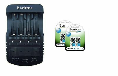 UNiROSS ULTIMATE INTELLIGENT SMART Charger AA AAA+ 8 x AAA 1000 mAh Batts
