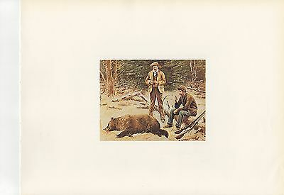 """1967/"""" CARIBOU Color Lithograph 1972 Vintage HUNTING /""""RUBBING OFF THE VELVET"""