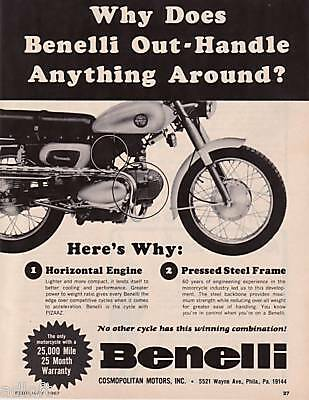 1967 Benelli Barracuda Motorcycle Out-Handle photo ad