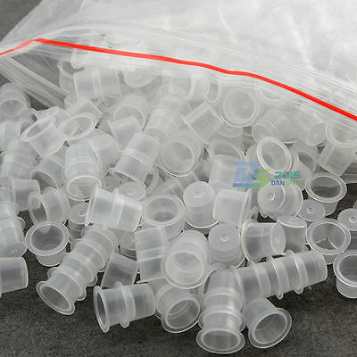 1000pcs Professional Plastic Tattoo Machine Ink Cups Caps Holder 10 / 12 / 15mm