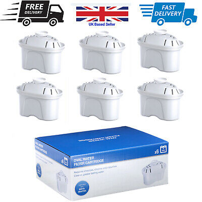 Universal Pack of 6 Water Filter Cartridges For Brita Maxtra Water Jugs